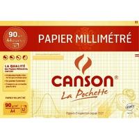 12 feuilles de papier millimétré CANSON A4 90g