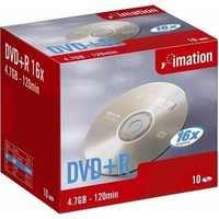 Pack de 10 DVD+R IMATION 4,7GB 16X