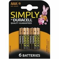 Blister de 6 piles DURACELL Alcaline AAA LR03 1,5V
