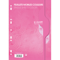 50 Feuilles mobiles CALLIGRAPHE A4 Grands carreaux Rose