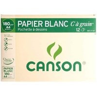 12 feuilles à dessin CANSON C à grain 180g 24x32cm