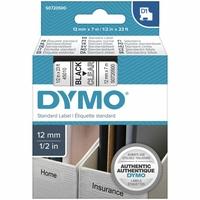 Ruban d'étiquette DYMO 12mm x 7m Noir sur Transparent
