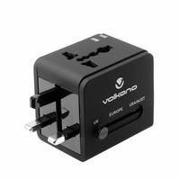 Adaptateur de voyage VOLKANO VK-8016-BK 2 ports USB