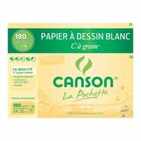12 feuilles de papier à dessin CANSON 24x32cm 180g Blanc