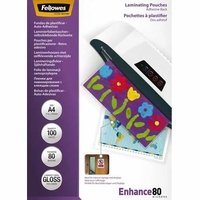 100 pochettes plastifiées FELLOWES A4 Brillant 80 Microns Dos Adhésif