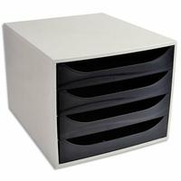 Caisson 4 tiroirs EXACOMPTA EcoBox Gris et Noir