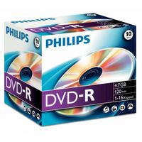 Pack de 10 DVD-R PHILIPS 4,7 GB 16x