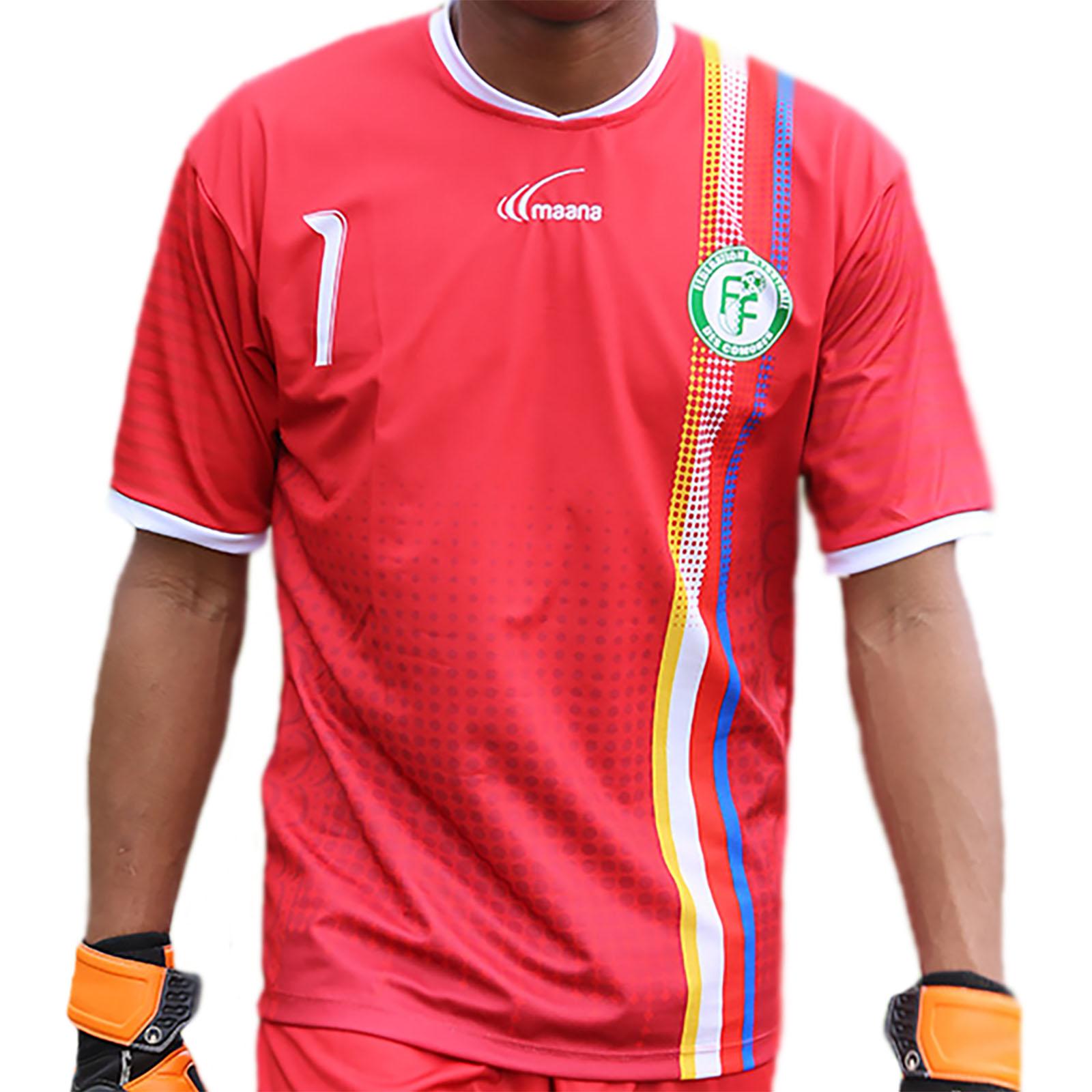 maillot gardien officiel des Comores 2016/2017 - Rouge-Noir-Jaune