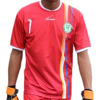 """maillot """"gardien"""" officiel des Comores 2016/2017 - Rouge-Noir-Jaune"""