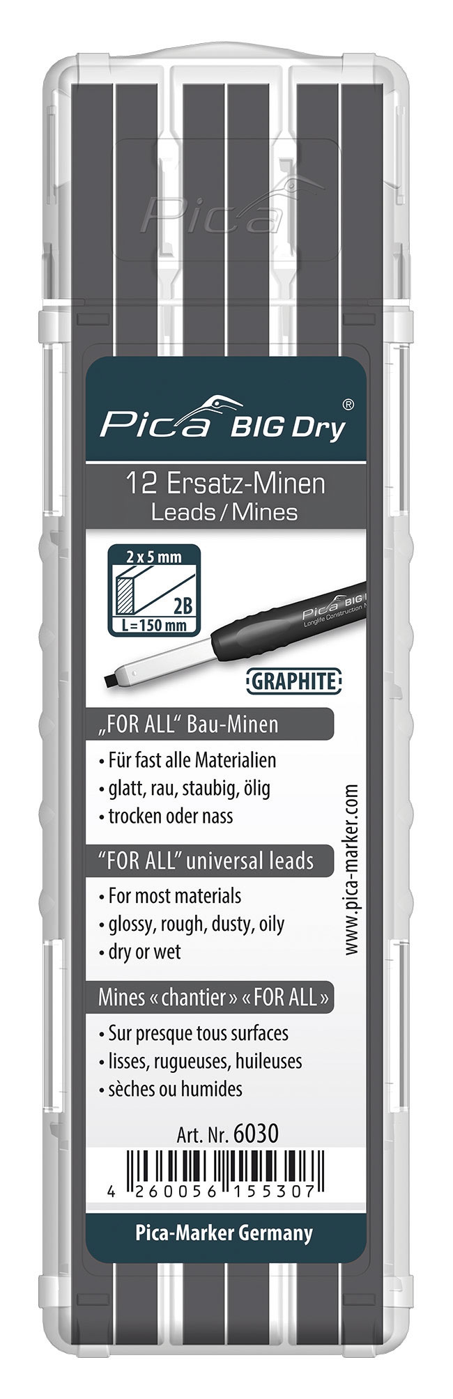 RECHARGE DE 12 MINES BIG DRY FOR ALL UNIVERSELLE GRAPHITES - TOUTES SURFACES - 6030