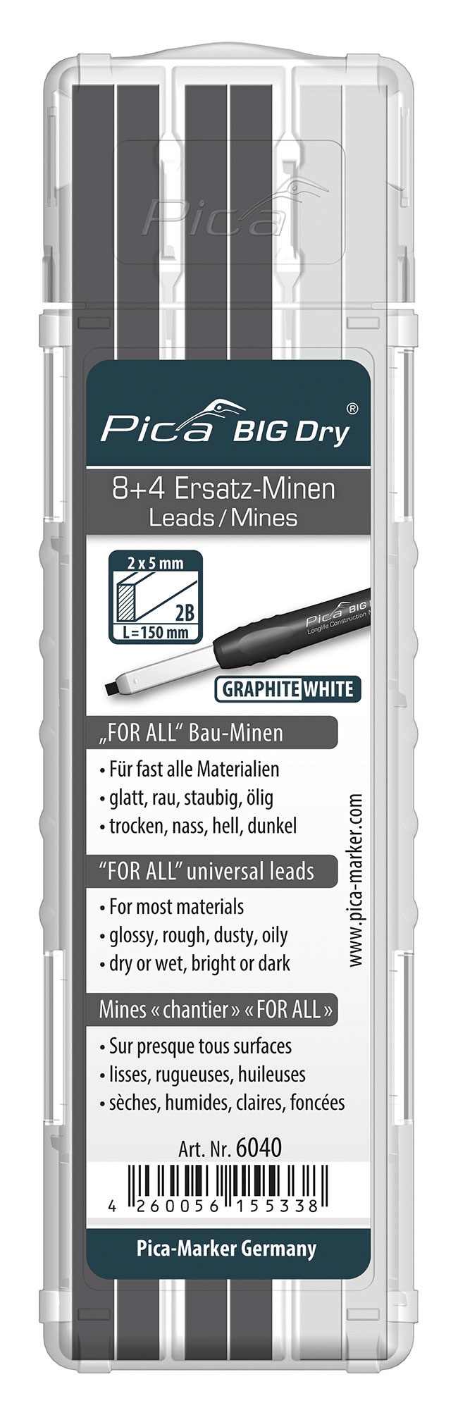 Recharge de 12 Mines chantier BIG DRY FOR ALL Universelle Blanches | 8 Graphites + 4 Blanches | Toutes Surfaces | Réf : 6040