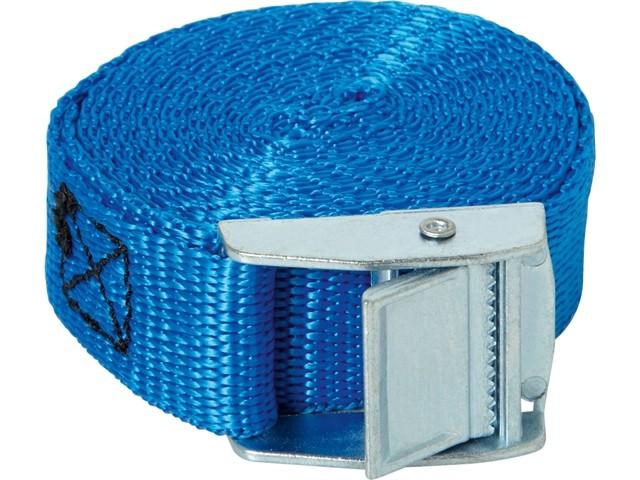Sangle d\'arrimage bleu Type Bagage Ceinture Boucle auto serrante | 400 Kgs | Largeur : 25 mm | Longueur : 5 Mètres