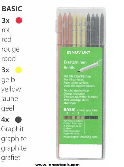 Recharge de 10 Mines sèches INNOV DRY BASIC | 3 COULEURS : Graphites, Jaunes et Rouges | 8486010