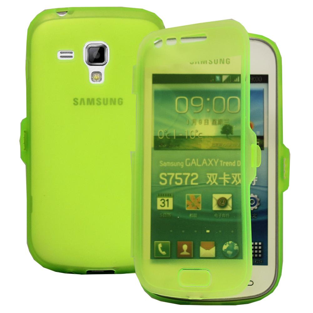 Samsung Galaxy Trend S7560/ Galaxy S Duos S7562: Accessoire Coque Etui Housse Pochette silicone gel Portefeuille Livre rabat - VERT