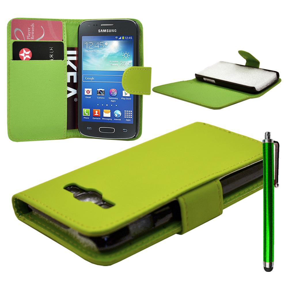 Samsung Galaxy Ace 3 S7270 S7272 S7275 LTE: Accessoire Etui portefeuille Livre Housse Coque Pochette cuir PU Stylet - VERT