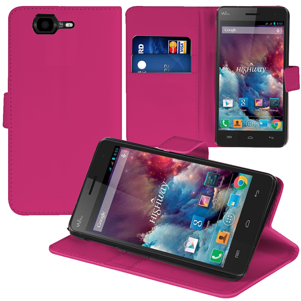 purchase cheap best value check out Wiko Highway/ Highway 4G: Accessoire Etui portefeuille Livre Housse Coque  Pochette support vidéo cuir PU - ROSE