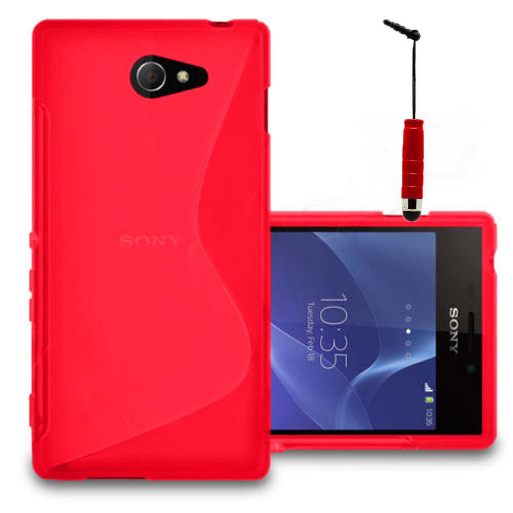 messe west cappel Sony Xperia M2/ M2 Dual D2303 D2305 D2306: Accessoire  Housse Etui Pochette Coque S silicone gel + mini Stylet - ROUGE
