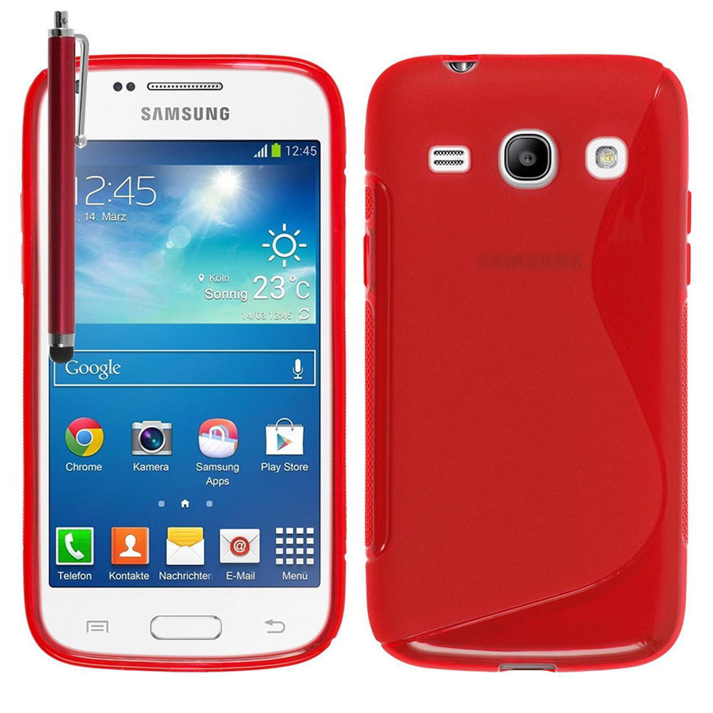 Rouge Plus Etui Galaxy G3500 One Pochette S GelStylet Promo Coque Step G3502Accessoire Core Samsung Silicone Housse Trend 3 3Aq5RL4j