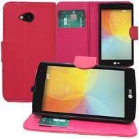 LG F60 D390N/ F60 Dual D392: Accessoire Etui portefeuille Livre Housse Coque Pochette support vidéo cuir PU - ROSE