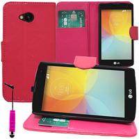 LG F60 D390N/ F60 Dual D392: Accessoire Etui portefeuille Livre Housse Coque Pochette support vidéo cuir PU + mini Stylet - ROSE