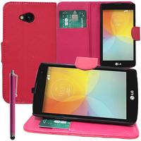 LG F60 D390N/ F60 Dual D392: Accessoire Etui portefeuille Livre Housse Coque Pochette support vidéo cuir PU + Stylet - ROSE