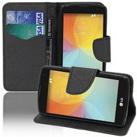 LG F60 D390N/ F60 Dual D392: Accessoire Etui portefeuille Livre Housse Coque Pochette support vidéo cuir PU effet tissu - NOIR