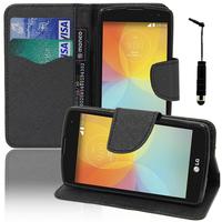 LG F60 D390N/ F60 Dual D392: Accessoire Etui portefeuille Livre Housse Coque Pochette support vidéo cuir PU effet tissu + mini Stylet - NOIR