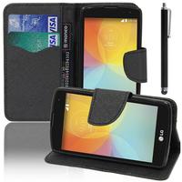 LG F60 D390N/ F60 Dual D392: Accessoire Etui portefeuille Livre Housse Coque Pochette support vidéo cuir PU effet tissu + Stylet - NOIR