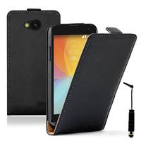 LG F60 D390N/ F60 Dual D392: Accessoire Housse coque etui cuir fine slim + mini Stylet - NOIR