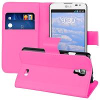 LG F70 D315/ LTE: Accessoire Etui portefeuille Livre Housse Coque Pochette support vidéo cuir PU - ROSE