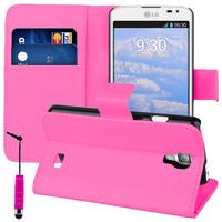 LG F70 D315/ LTE: Accessoire Etui portefeuille Livre Housse Coque Pochette support vidéo cuir PU + mini Stylet - ROSE