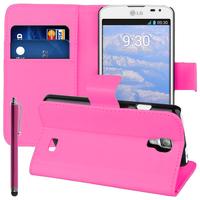 LG F70 D315/ LTE: Accessoire Etui portefeuille Livre Housse Coque Pochette support vidéo cuir PU + Stylet - ROSE