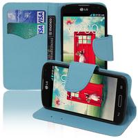 LG F70 D315/ LTE: Accessoire Etui portefeuille Livre Housse Coque Pochette support vidéo cuir PU effet tissu - BLEU