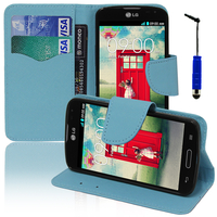 LG F70 D315/ LTE: Accessoire Etui portefeuille Livre Housse Coque Pochette support vidéo cuir PU effet tissu + mini Stylet - BLEU