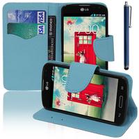 LG F70 D315/ LTE: Accessoire Etui portefeuille Livre Housse Coque Pochette support vidéo cuir PU effet tissu + Stylet - BLEU