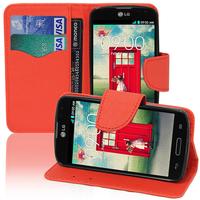 LG F70 D315/ LTE: Accessoire Etui portefeuille Livre Housse Coque Pochette support vidéo cuir PU effet tissu - ROUGE