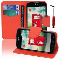 LG F70 D315/ LTE: Accessoire Etui portefeuille Livre Housse Coque Pochette support vidéo cuir PU effet tissu + mini Stylet - ROUGE