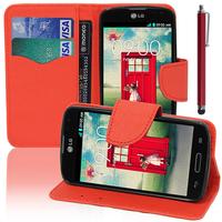 LG F70 D315/ LTE: Accessoire Etui portefeuille Livre Housse Coque Pochette support vidéo cuir PU effet tissu + Stylet - ROUGE