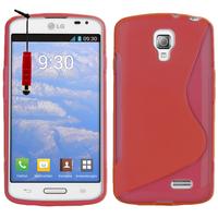 LG F70 D315/ LTE: Accessoire Housse Etui Pochette Coque S silicone gel + mini Stylet - ROUGE