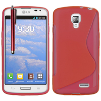 LG F70 D315/ LTE: Accessoire Housse Etui Pochette Coque S silicone gel + Stylet - ROUGE