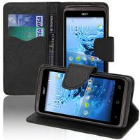 Acer Liquid Z410: Accessoire Etui portefeuille Livre Housse Coque Pochette support vidéo cuir PU effet tissu - NOIR
