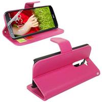 LG G2 D802/ D803/ VS980: Accessoire Etui portefeuille Livre Housse Coque Pochette support vidéo cuir PU - ROSE