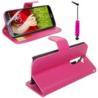 LG G2 D802/ D803/ VS980: Accessoire Etui portefeuille Livre Housse Coque Pochette support vidéo cuir PU + mini Stylet - ROSE
