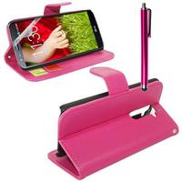 LG G2 D802/ D803/ VS980: Accessoire Etui portefeuille Livre Housse Coque Pochette support vidéo cuir PU + Stylet - ROSE