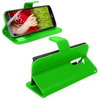 LG G2 D802/ D803/ VS980: Accessoire Etui portefeuille Livre Housse Coque Pochette support vidéo cuir PU - VERT
