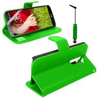 LG G2 D802/ D803/ VS980: Accessoire Etui portefeuille Livre Housse Coque Pochette support vidéo cuir PU + mini Stylet - VERT