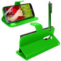 LG G2 D802/ D803/ VS980: Accessoire Etui portefeuille Livre Housse Coque Pochette support vidéo cuir PU + Stylet - VERT
