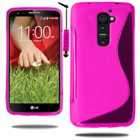 LG G2 D802/ D803/ VS980: Accessoire Housse Etui Pochette Coque S silicone gel + mini Stylet - ROSE