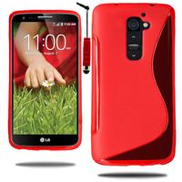 LG G2 D802/ D803/ VS980: Accessoire Housse Etui Pochette Coque S silicone gel + mini Stylet - ROUGE