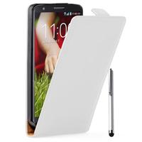LG G2 D802/ D803/ VS980: Accessoire Housse coque etui cuir fine slim + Stylet - BLANC